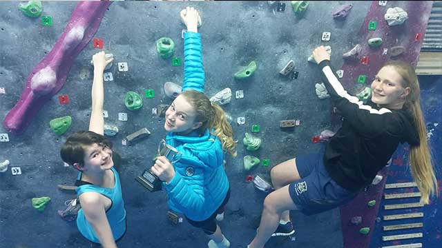 Anya Forino with her climbing team