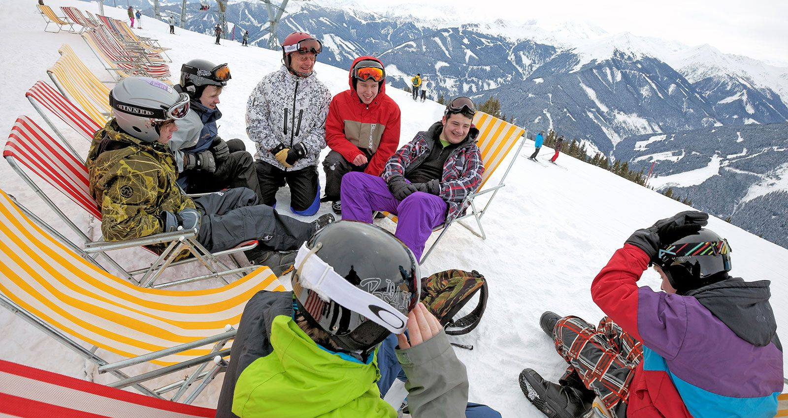 Ski group taking a break