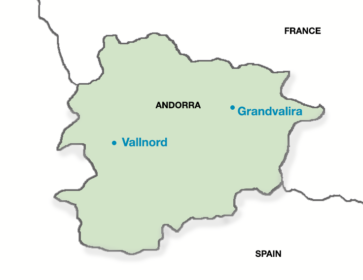 Map of Andorran ski resorts for skiing with PGL