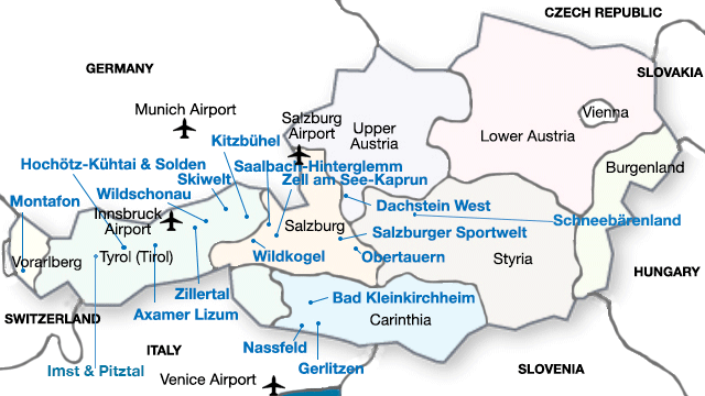 Map of Austria with PGL Ski resort information